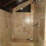 Walk in marble shower