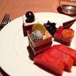 Variety of tasty dessert and fresh fruit!