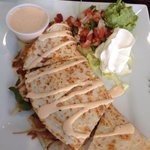 Vegetable quesadilla with extra sauce!
