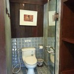 Glass door toilet