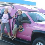 The girls hanging out on the Pink Jeep