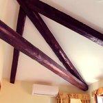 Wooden beams in room