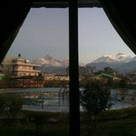 view of Annapurna Range from the room where we were staying