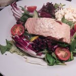 poached salmon house salad