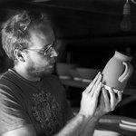 Alex Allpress glazing in his Elan Valley Studio in Newbridge on Wye