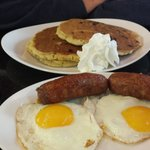 pancakes with sausage and egg
