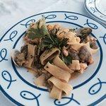 Calamarita pasta with seafood