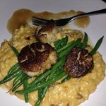 Scallops and Risotto with Green Beans and Apple glaze