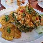 Pineapple chicken and rice with tostones