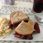 Rueben sandwich with potato salad