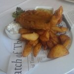 Sea bass fish and chips