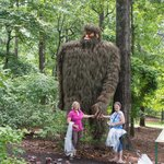 Friendly big foot made with grasses weaved together