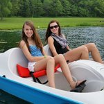 Paddleboating on the pond by Peppertree at Tamarack