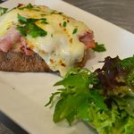 The only authentic Croque Monsieur on the Island. Imported ham, Macrina bread, melty Mornay sauc