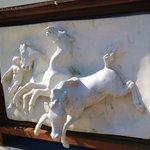 Ceramic Plaque of Horse on exterior of Jacuzzi