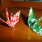 Origami cranes in our room!