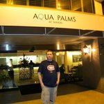 Outside the Aqua Palms lobby/front desk