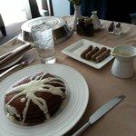 Red Velvet pancakes/room service