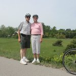My wife and I on the Leelanau Trail with Suttons Bay Bikes
