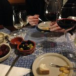 One of the many amazing stops. Fresh cheese, bread, olives, chorizo, and 3 glasses of wine!