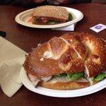 Pretzel Sandwich in the Front & Salmon Sandwich in the back!