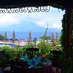 View of lake and volcanoes from restaurant