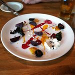 Beets, goat cheese, carrot puree