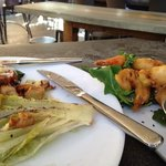 grilled romaine salad and tempura shrimp