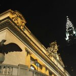 Chrysler building at night with Grand Central Station in foreground
