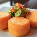 Llapingachos (potato cakes filled with cheese)