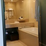 Spacious clean bathroom with tub!