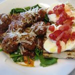 Meatball special on bed of Spinach with Caprese Bruschetta