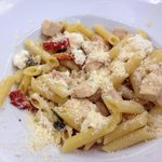 Pasta with Chicken, feta, pine nuts, tomatoes & roasted peppers