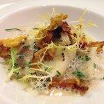 Potato truffle gnocchi with chives emulsion