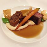US-prime Beef flank and shoulder with miso glaze and jasmine tea smoked potato puree