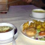 veg soup and vegetables fried in batter