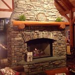 Amazing fireplace in the lobby!