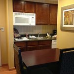 Kitchen, microwave, sink, table, chairs