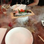 This is the Sushi dish over a bowl of dry ice.