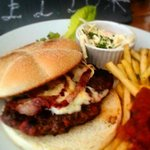 100% handpressed beef burger with cheese and bacon! Yum