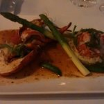 Lobster with asparagus and lobster risotto