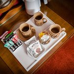 Hospitality tray in twin room.