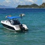 Motor boats for parasailing and banana boat ride.