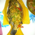 The whole fish with lemongrass and ginger. BEAUTIFUL!