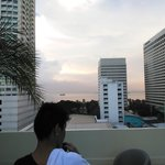 View from the hotel's pool to Manila bay
