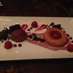 Beetroot financier with chocolate parfait