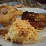Grilled snapper, Onion rings & Coleslaw
