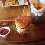 BBQ chicken burger with amazing chips