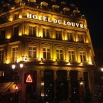 The Hotel du Louvre is beautiful at night!