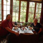 Hubby and I eating breakfast in the Dining Room.